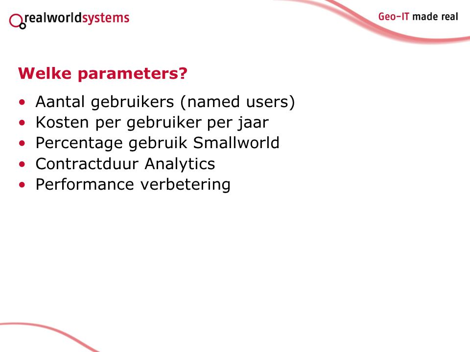 Welke parameters.