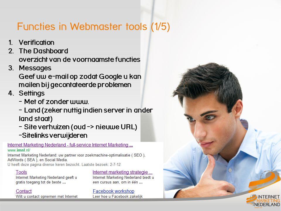Functies in Webmaster tools (2/5) 5.