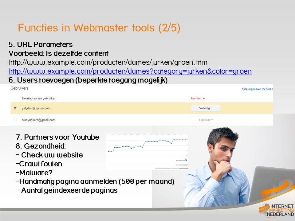 Functies in Webmaster tools (3/5) 9.
