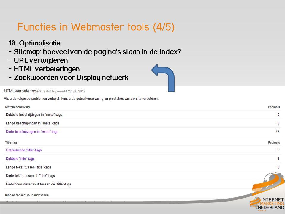 Functies in Webmaster tools (5/5) 10.Labs Snelheid van uw site - Hoeveel klikken op u in Google.