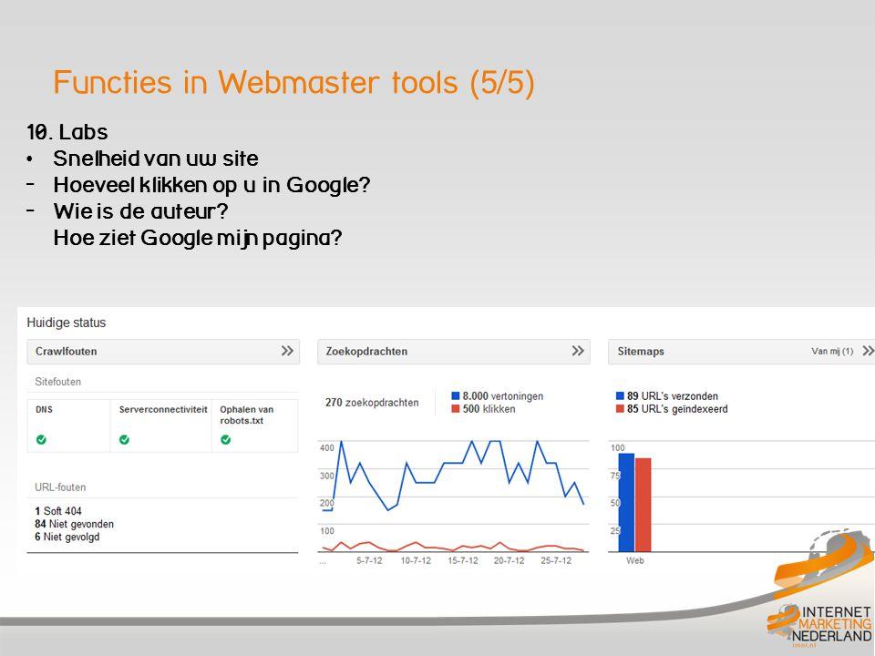 Functies in Webmaster tools (5/5) 10. Labs Snelheid van uw site - Hoeveel klikken op u in Google.