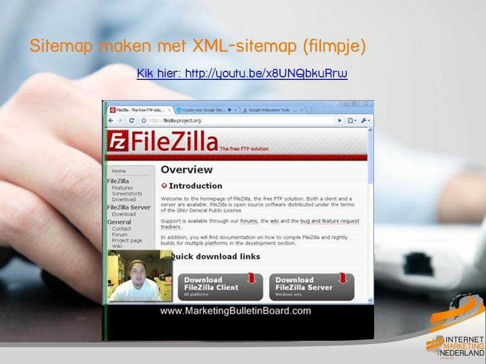 Sitemap maken met XML-sitemap (filmpje) Kik hier: http://youtu.be/x8UNQbkuRrw