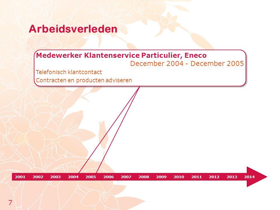 20012002200320042005200620072008200920102011201220132014 Medewerker Klantenservice Particulier, Eneco December 2004 - December 2005 Telefonisch klantc