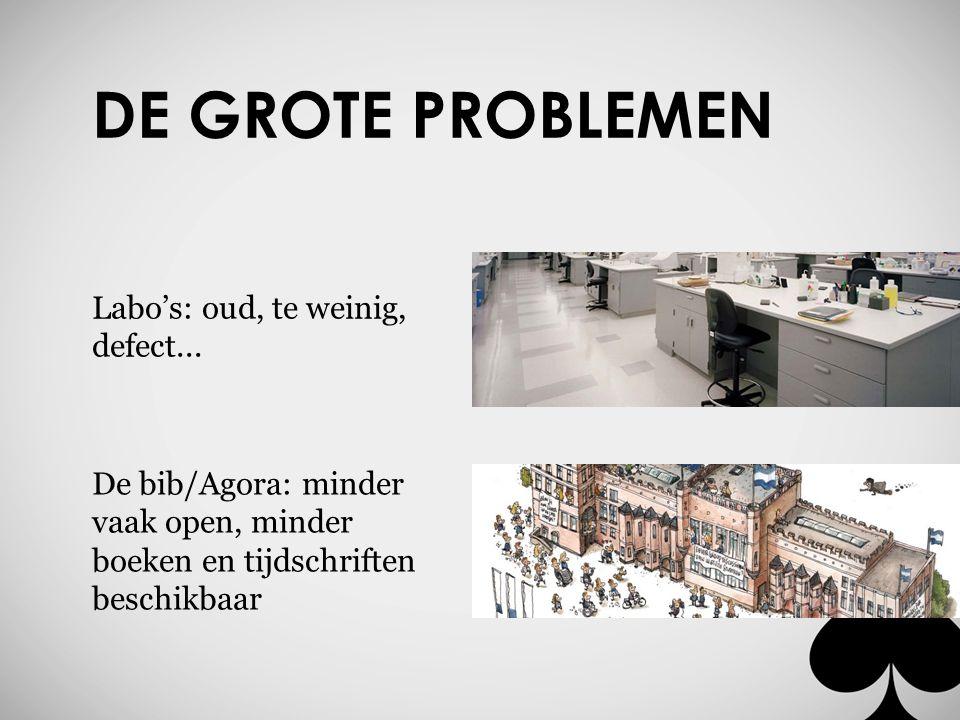 DE GROTE PROBLEMEN Labo's: oud, te weinig, defect... De bib/Agora: minder vaak open, minder boeken en tijdschriften beschikbaar
