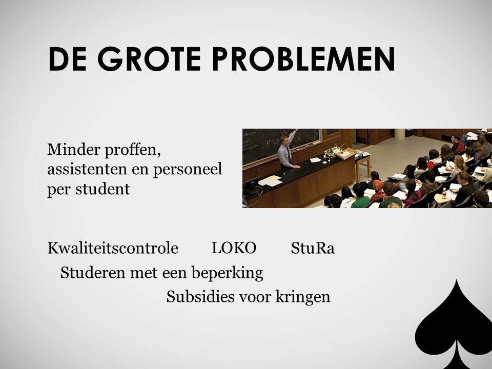 DE GROTE PROBLEMEN Minder proffen, assistenten en personeel per student Kwaliteitscontrole LOKO StuRa Studeren met een beperking Subsidies voor kringen