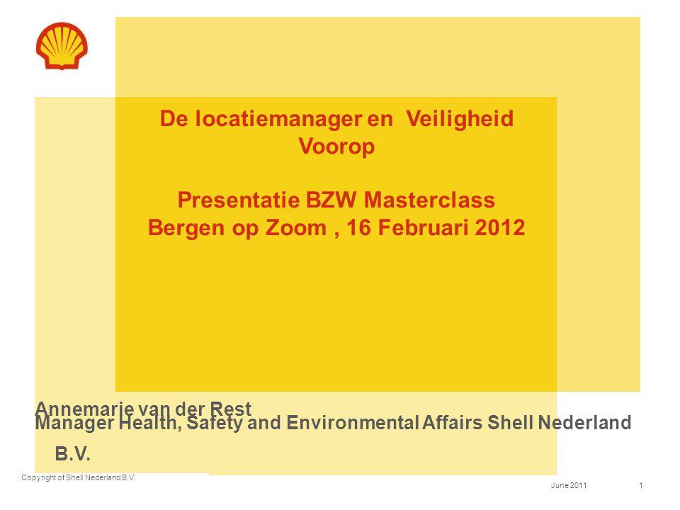 Copyright of Shell Nederland B.V. 1June 2011 De locatiemanager en Veiligheid Voorop Presentatie BZW Masterclass Bergen op Zoom, 16 Februari 2012 Annem