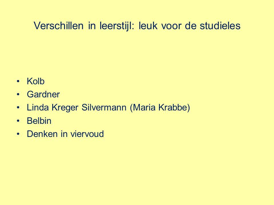 Verschillen in leerstijl: leuk voor de studieles Kolb Gardner Linda Kreger Silvermann (Maria Krabbe) Belbin Denken in viervoud
