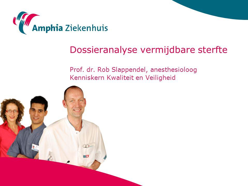 Dossieranalyse vermijdbare sterfte Prof. dr. Rob Slappendel, anesthesioloog Kenniskern Kwaliteit en Veiligheid