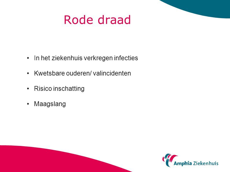 Rode draad In het ziekenhuis verkregen infecties Kwetsbare ouderen/ valincidenten Risico inschatting Maagslang