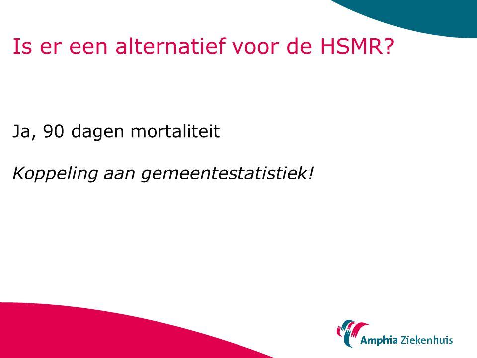 Is er een alternatief voor de HSMR? Ja, 90 dagen mortaliteit Koppeling aan gemeentestatistiek!
