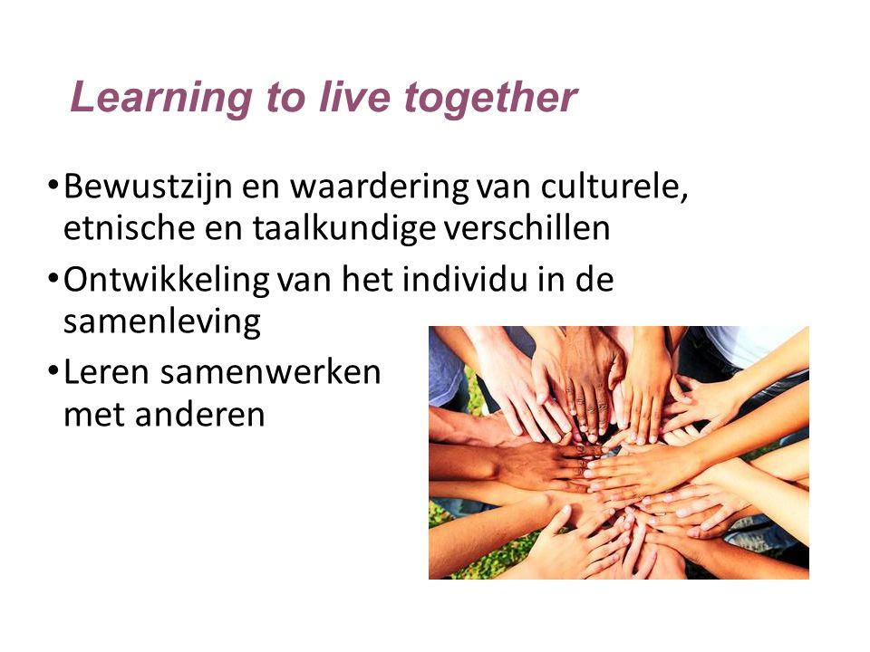 Learning to live together Bewustzijn en waardering van culturele, etnische en taalkundige verschillen Ontwikkeling van het individu in de samenleving
