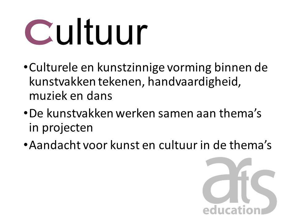 C ultuur Culturele en kunstzinnige vorming binnen de kunstvakken tekenen, handvaardigheid, muziek en dans De kunstvakken werken samen aan thema's in p