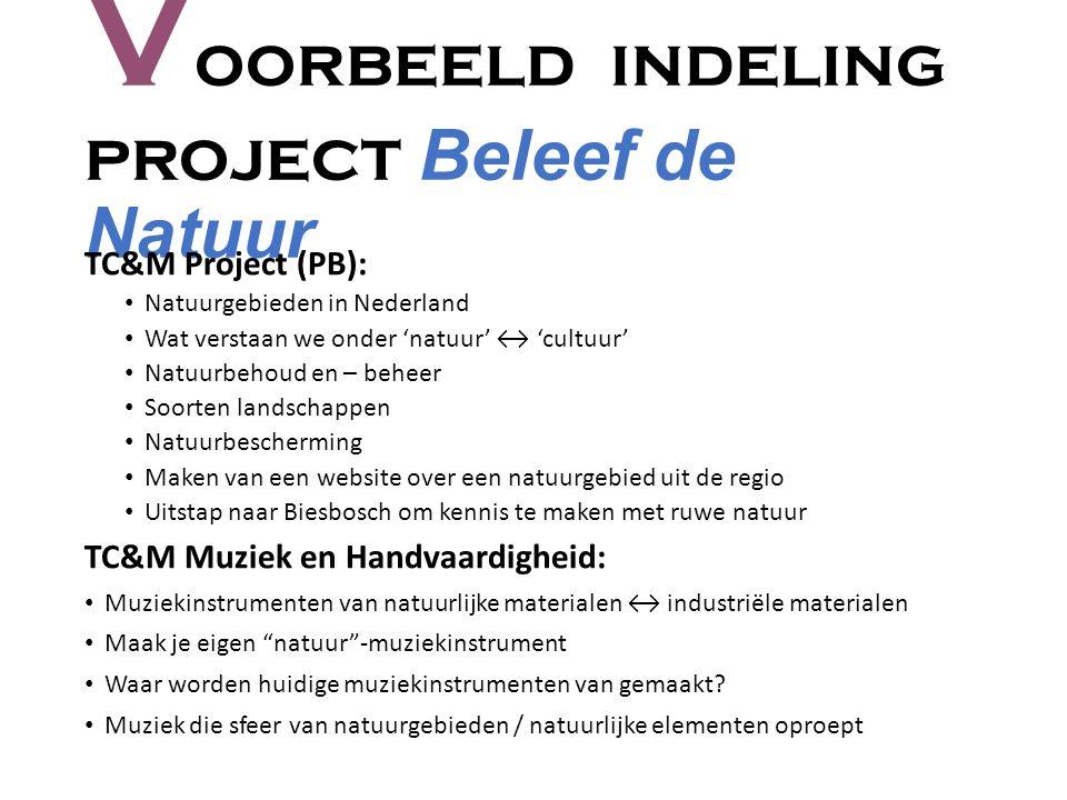 V oorbeeld indeling project Beleef de Natuur TC&M Project (PB): Natuurgebieden in Nederland Wat verstaan we onder 'natuur' ↔ 'cultuur' Natuurbehoud en