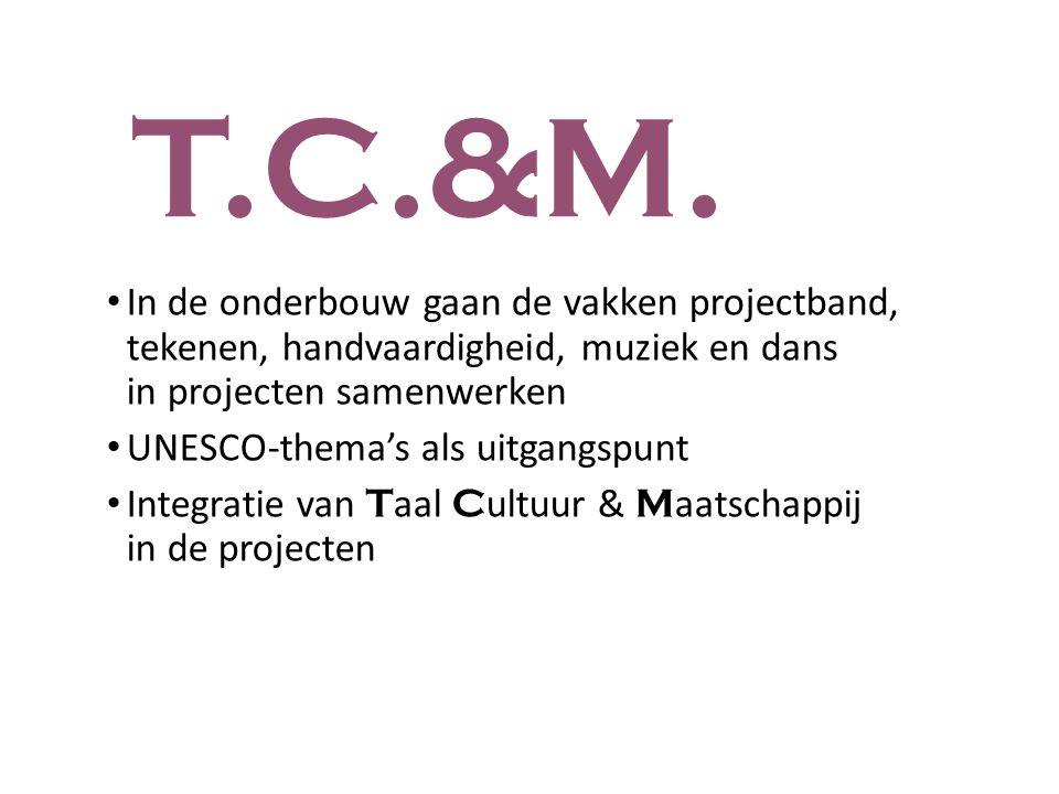 T.C.&M. In de onderbouw gaan de vakken projectband, tekenen, handvaardigheid, muziek en dans in projecten samenwerken UNESCO-thema's als uitgangspunt
