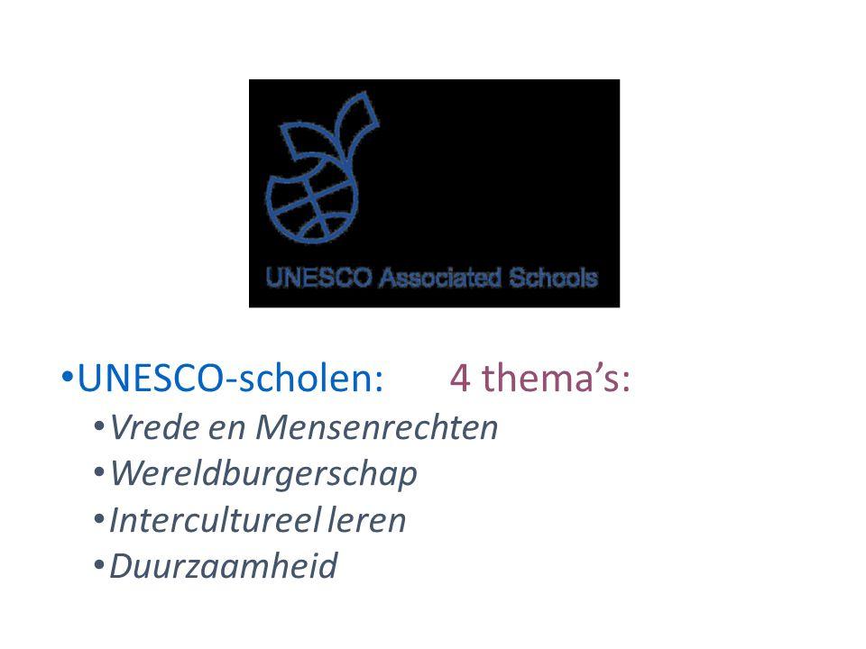 UNESCO-scholen:4 thema's: Vrede en Mensenrechten Wereldburgerschap Intercultureel leren Duurzaamheid