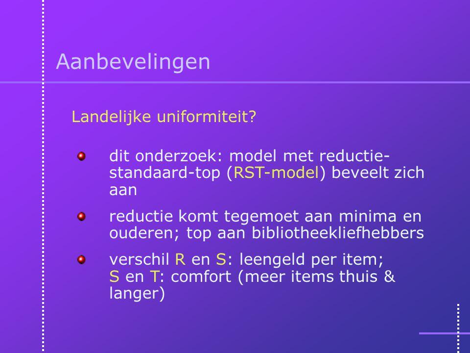 Aanbevelingen dit onderzoek: model met reductie- standaard-top (RST-model) beveelt zich aan reductie komt tegemoet aan minima en ouderen; top aan bibliotheekliefhebbers verschil R en S: leengeld per item; S en T: comfort (meer items thuis & langer) Landelijke uniformiteit