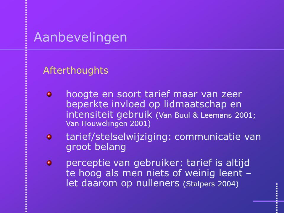 Aanbevelingen hoogte en soort tarief maar van zeer beperkte invloed op lidmaatschap en intensiteit gebruik (Van Buul & Leemans 2001; Van Houwelingen 2