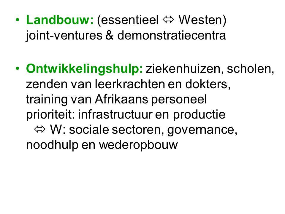 Landbouw: (essentieel  Westen) joint-ventures & demonstratiecentra Ontwikkelingshulp: ziekenhuizen, scholen, zenden van leerkrachten en dokters, trai