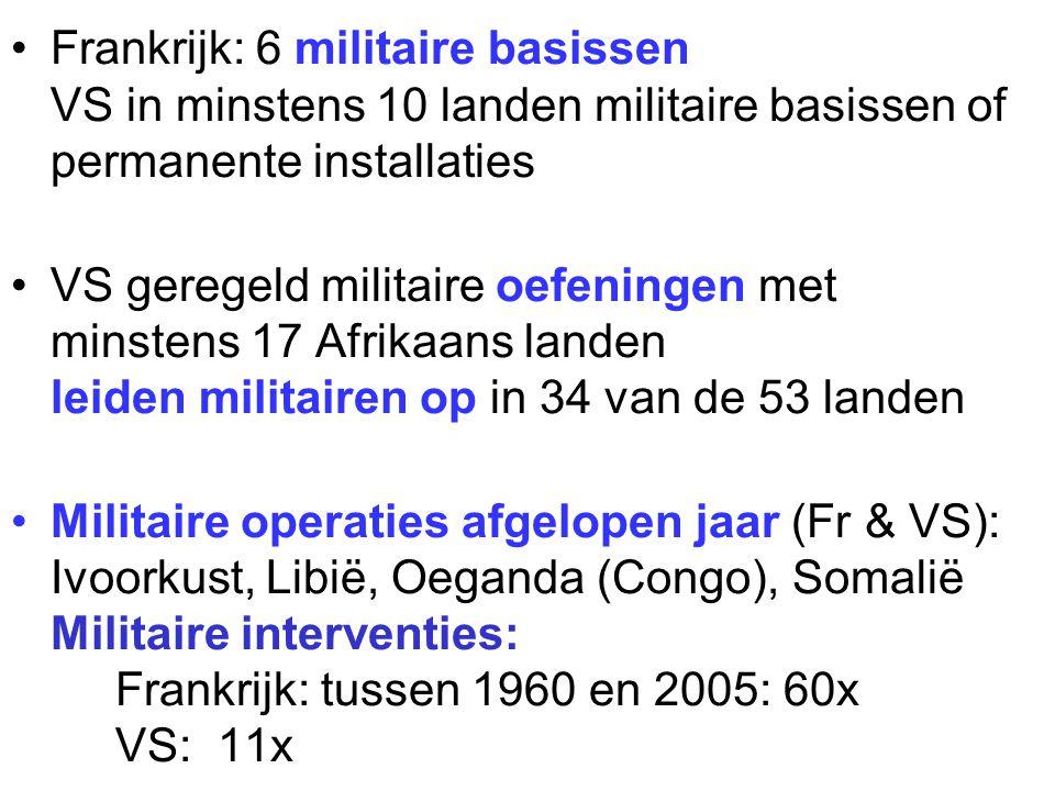 VS geregeld militaire oefeningen met minstens 17 Afrikaans landen leiden militairen op in 34 van de 53 landen Militaire operaties afgelopen jaar (Fr &