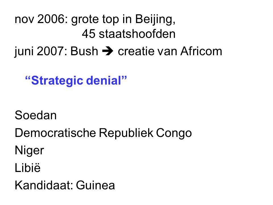 """nov 2006: grote top in Beijing, 45 staatshoofden juni 2007: Bush  creatie van Africom """"Strategic denial"""" Soedan Democratische Republiek Congo Niger L"""