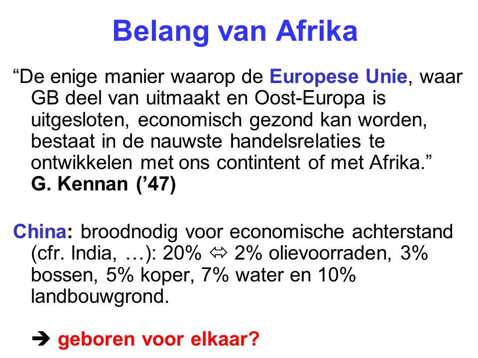 nov 2006: grote top in Beijing, 45 staatshoofden juni 2007: Bush  creatie van Africom Strategic denial Soedan Democratische Republiek Congo Niger Libië Kandidaat: Guinea