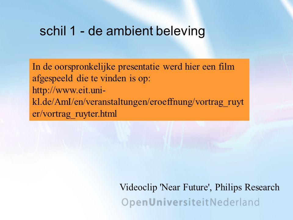 schil 1 - de ambient beleving Videoclip Near Future , Philips Research In de oorspronkelijke presentatie werd hier een film afgespeeld die te vinden is op: http://www.eit.uni- kl.de/AmI/en/veranstaltungen/eroeffnung/vortrag_ruyt er/vortrag_ruyter.html