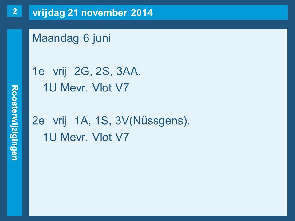 vrijdag 21 november 2014 Roosterwijzigingen Maandag 6 juni 3evrij1B, 3V(Nüssgens).