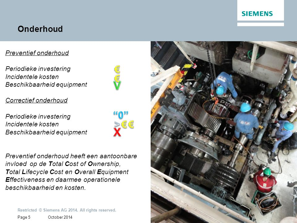 October 2014 Restricted © Siemens AG 2014. All rights reserved. Page 5 Onderhoud Preventief onderhoud Periodieke investering Incidentele kosten Beschi