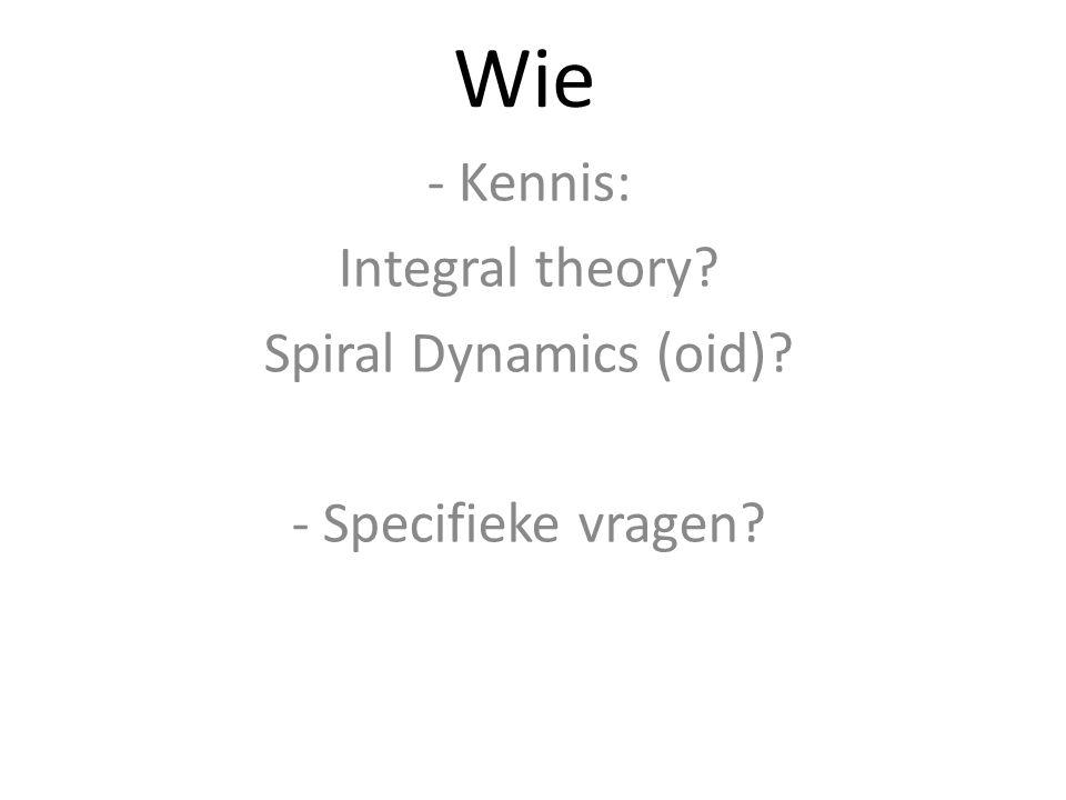 Wie - Kennis: Integral theory? Spiral Dynamics (oid)? - Specifieke vragen?