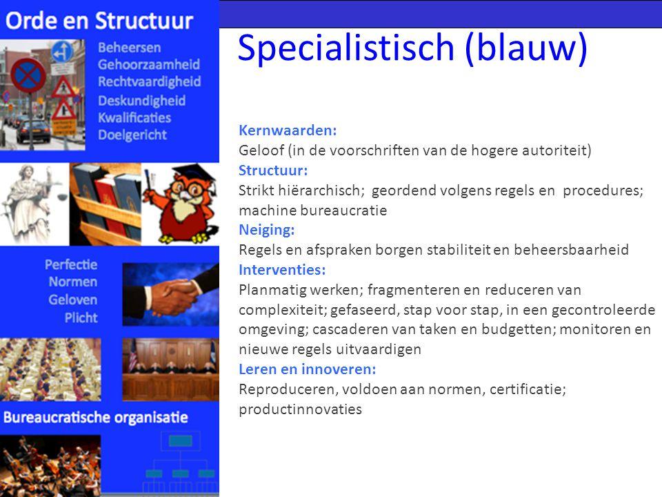 Specialistisch (blauw) Kernwaarden: Geloof (in de voorschriften van de hogere autoriteit) Structuur: Strikt hiërarchisch; geordend volgens regels en p