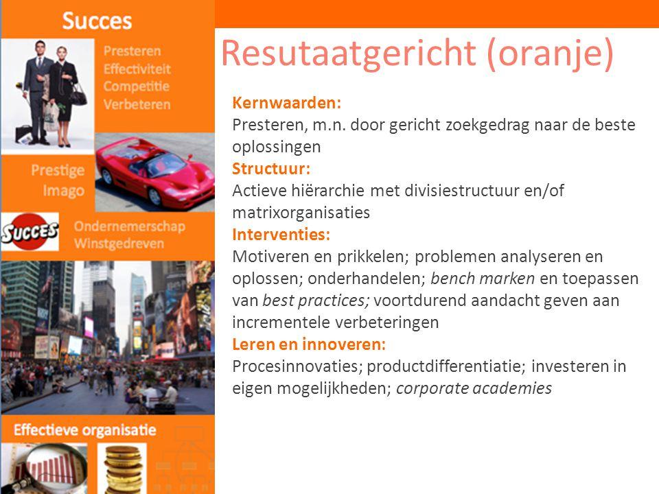 Resutaatgericht (oranje) Kernwaarden: Presteren, m.n. door gericht zoekgedrag naar de beste oplossingen Structuur: Actieve hiërarchie met divisiestruc