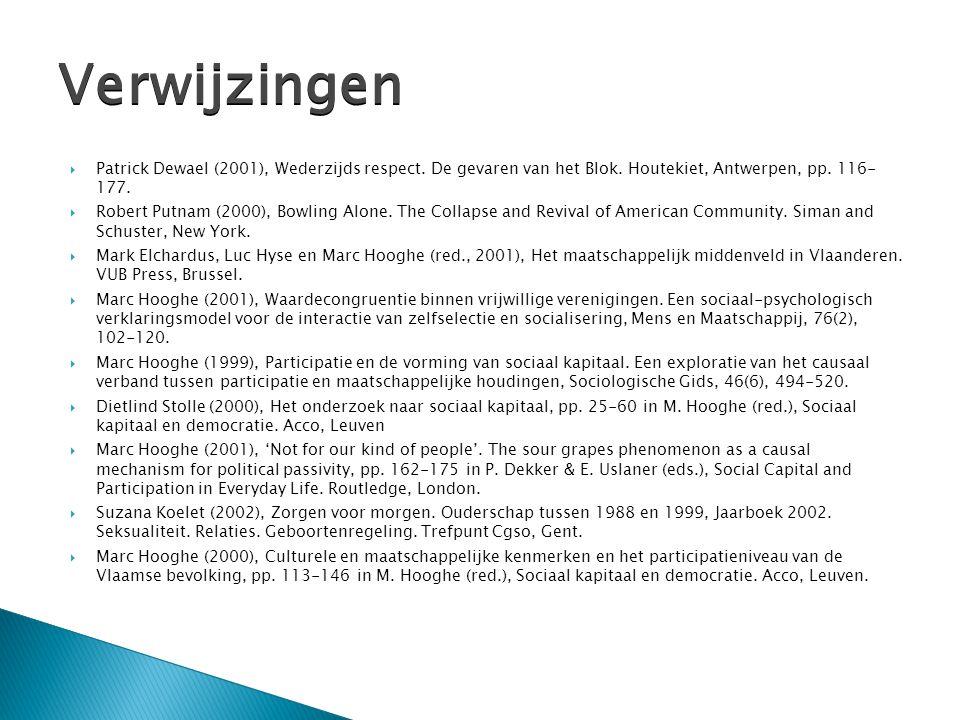  Patrick Dewael (2001), Wederzijds respect. De gevaren van het Blok. Houtekiet, Antwerpen, pp. 116- 177.  Robert Putnam (2000), Bowling Alone. The C