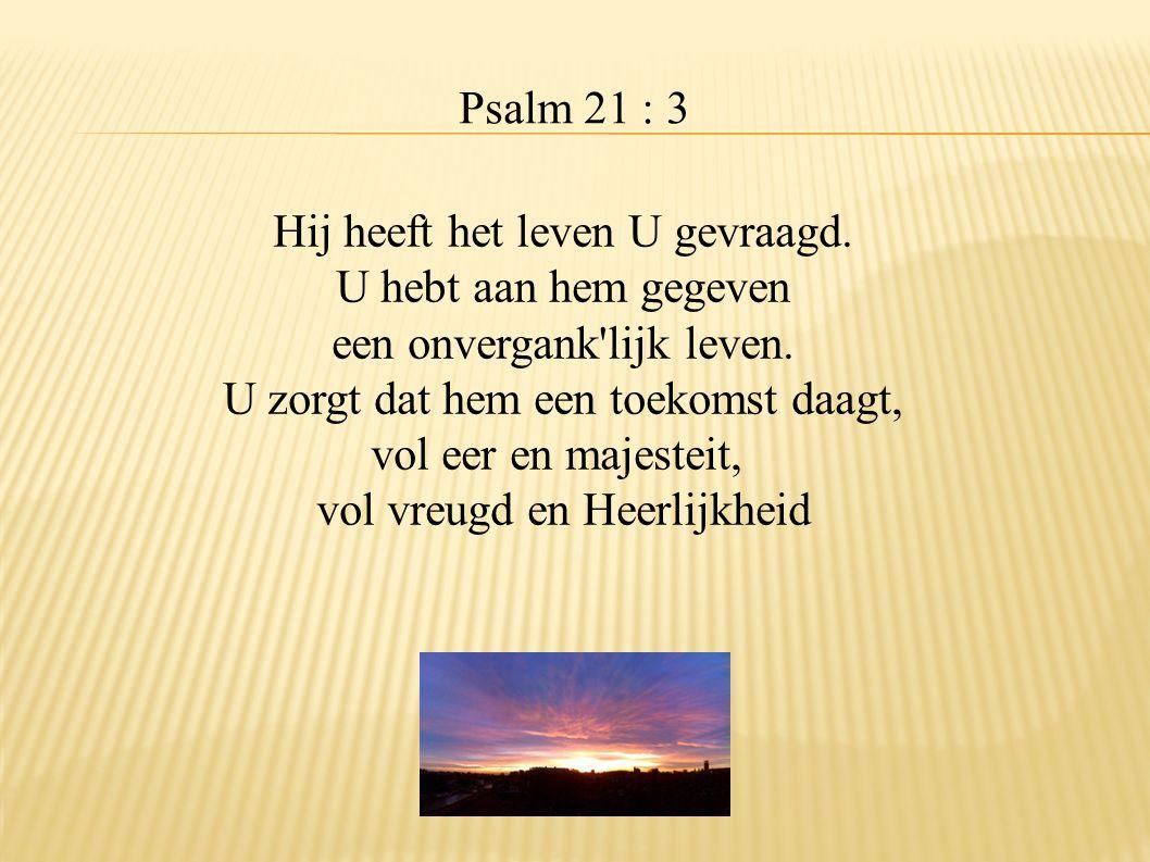 Psalm 21 : 3 Hij heeft het leven U gevraagd. U hebt aan hem gegeven een onvergank'lijk leven. U zorgt dat hem een toekomst daagt, vol eer en majesteit