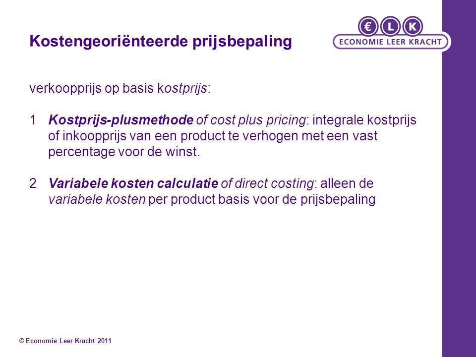 Kostengeoriënteerde prijsbepaling verkoopprijs op basis kostprijs: 1Kostprijs-plusmethode of cost plus pricing: integrale kostprijs of inkoopprijs van