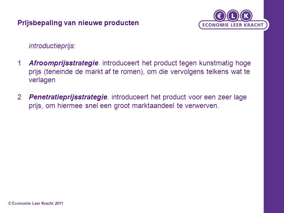 Prijsbepaling van nieuwe producten introductieprijs: 1Afroomprijsstrategie. introduceert het product tegen kunstmatig hoge prijs (teneinde de markt af
