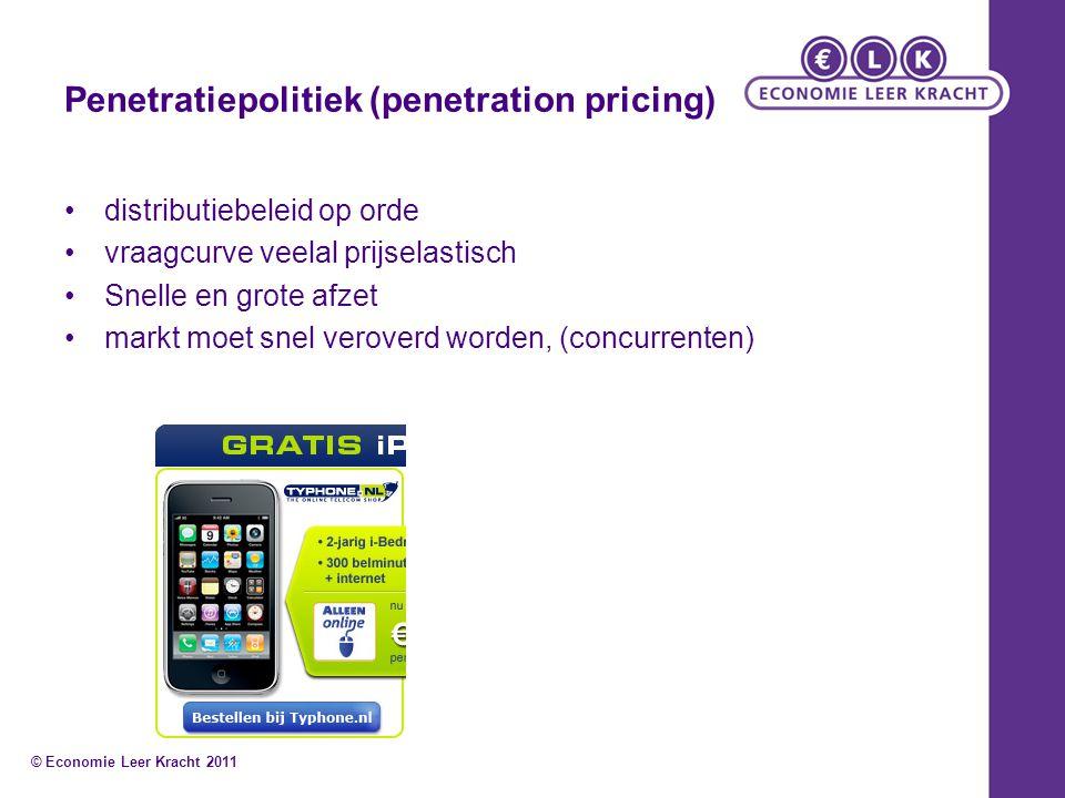 Penetratiepolitiek (penetration pricing) distributiebeleid op orde vraagcurve veelal prijselastisch Snelle en grote afzet markt moet snel veroverd wor