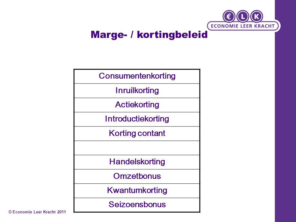 Marge- / kortingbeleid Consumentenkorting Inruilkorting Actiekorting Introductiekorting Korting contant Handelskorting Omzetbonus Kwantumkorting Seizo