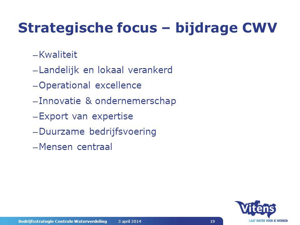 Bedrijfsstrategie Centrale Waterverdeling 19 Strategische focus – bijdrage CWV – Kwaliteit – Landelijk en lokaal verankerd – Operational excellence – Innovatie & ondernemerschap – Export van expertise – Duurzame bedrijfsvoering – Mensen centraal