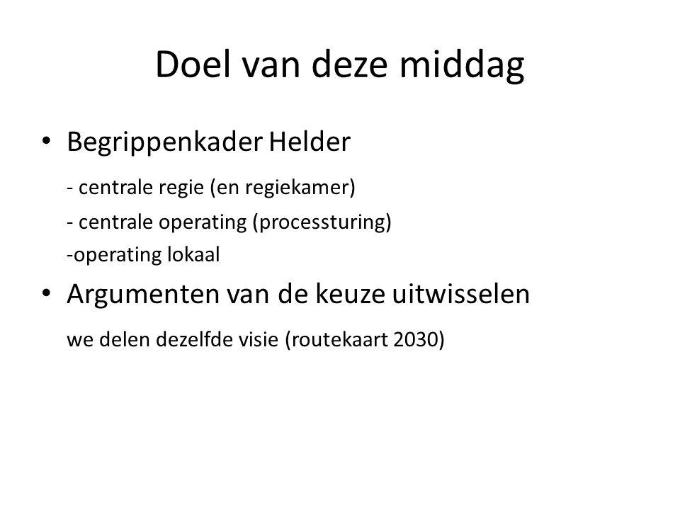 Doel van deze middag Begrippenkader Helder - centrale regie (en regiekamer) - centrale operating (processturing) -operating lokaal Argumenten van de keuze uitwisselen we delen dezelfde visie (routekaart 2030)