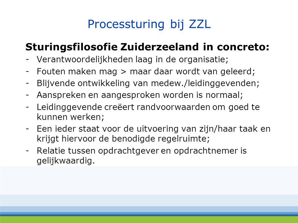 Processturing bij ZZL Sturingsfilosofie Zuiderzeeland in concreto: -Verantwoordelijkheden laag in de organisatie; -Fouten maken mag > maar daar wordt van geleerd; -Blijvende ontwikkeling van medew./leidinggevenden; -Aanspreken en aangesproken worden is normaal; -Leidinggevende creëert randvoorwaarden om goed te kunnen werken; -Een ieder staat voor de uitvoering van zijn/haar taak en krijgt hiervoor de benodigde regelruimte; -Relatie tussen opdrachtgever en opdrachtnemer is gelijkwaardig.