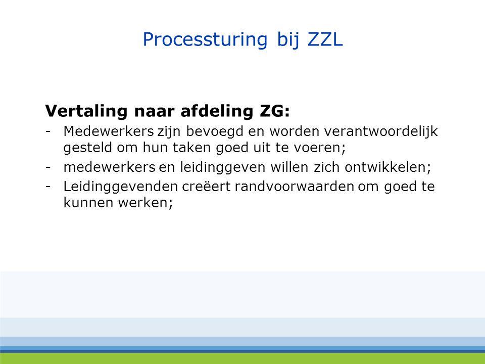 Processturing bij ZZL Vertaling naar afdeling ZG: -Medewerkers zijn bevoegd en worden verantwoordelijk gesteld om hun taken goed uit te voeren; -medewerkers en leidinggeven willen zich ontwikkelen; -Leidinggevenden creëert randvoorwaarden om goed te kunnen werken;