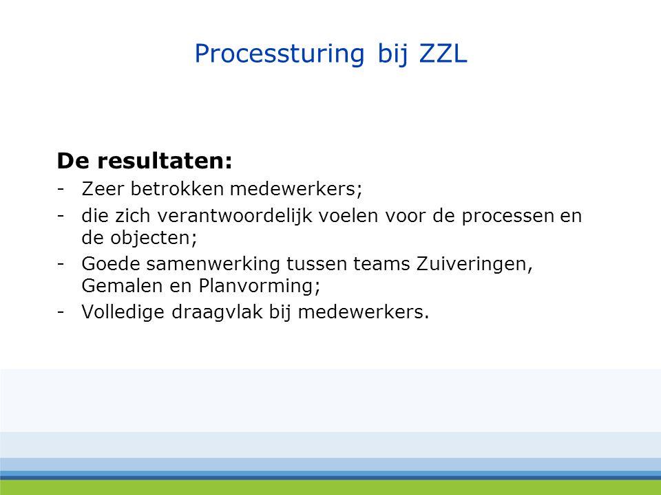 De resultaten: -Zeer betrokken medewerkers; -die zich verantwoordelijk voelen voor de processen en de objecten; -Goede samenwerking tussen teams Zuiveringen, Gemalen en Planvorming; -Volledige draagvlak bij medewerkers.