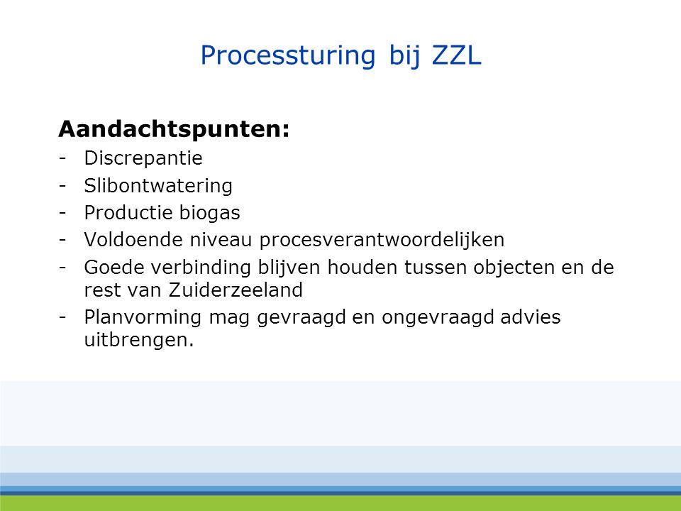 Processturing bij ZZL Aandachtspunten: -Discrepantie -Slibontwatering -Productie biogas -Voldoende niveau procesverantwoordelijken -Goede verbinding blijven houden tussen objecten en de rest van Zuiderzeeland -Planvorming mag gevraagd en ongevraagd advies uitbrengen.
