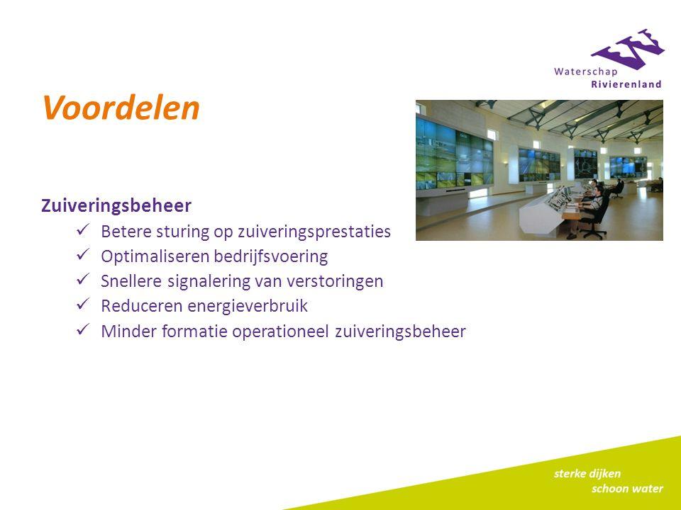 Voordelen Zuiveringsbeheer Betere sturing op zuiveringsprestaties Optimaliseren bedrijfsvoering Snellere signalering van verstoringen Reduceren energieverbruik Minder formatie operationeel zuiveringsbeheer