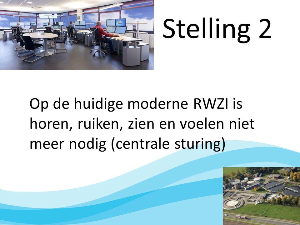 Stelling 2 Op de huidige moderne RWZI is horen, ruiken, zien en voelen niet meer nodig (centrale sturing)