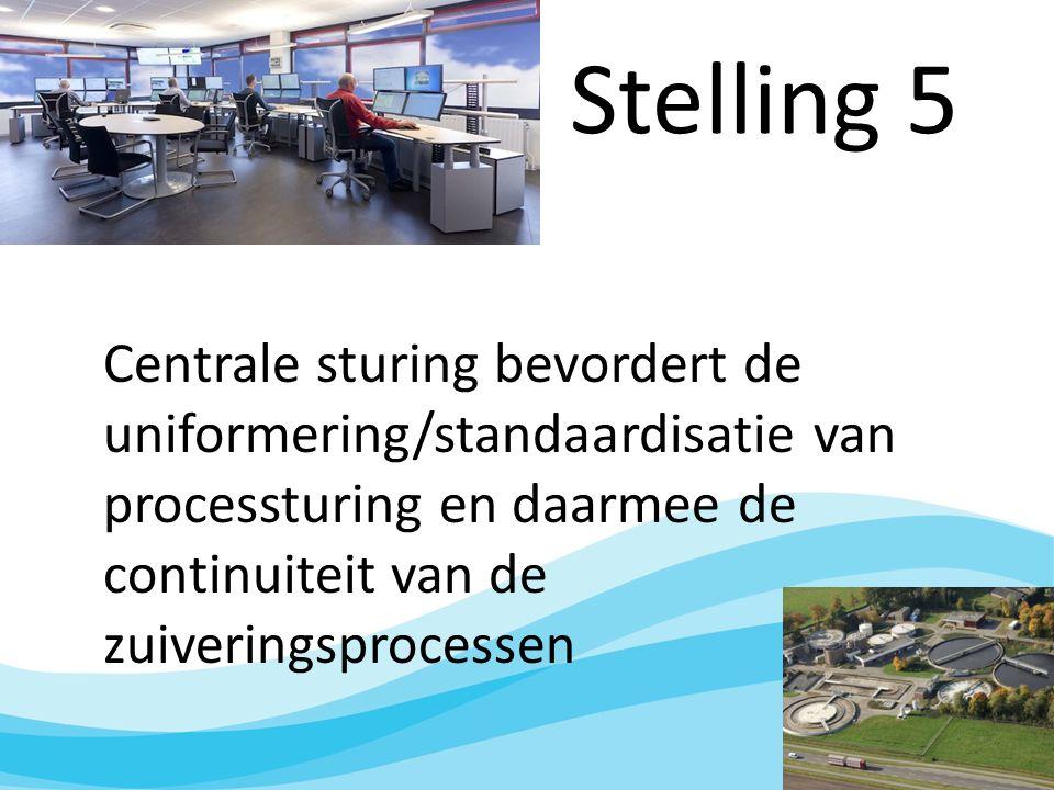 Stelling 5 Centrale sturing bevordert de uniformering/standaardisatie van processturing en daarmee de continuiteit van de zuiveringsprocessen
