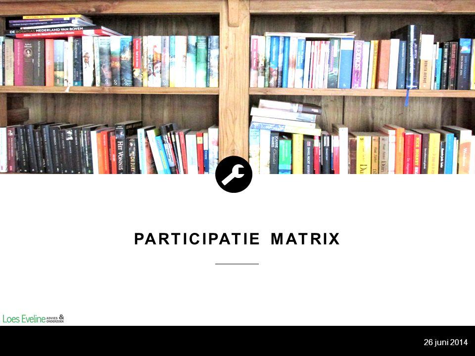 PARTICIPATIE MATRIX Vragen deel 2: A)Kijk opnieuw naar de twee onderwerpen: is het wenselijk om een niveau hoger te gaan op de participatieladder.