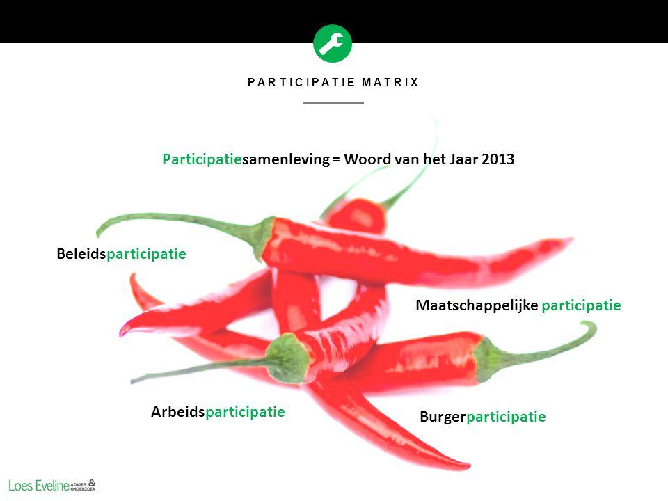 PARTICIPATIE MATRIX Participatiesamenleving = Woord van het Jaar 2013 Arbeidsparticipatie Beleidsparticipatie Maatschappelijke participatie Burgerpart