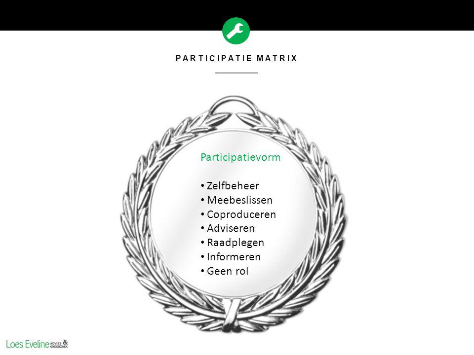 PARTICIPATIE MATRIX Participatievorm Zelfbeheer Meebeslissen Coproduceren Adviseren Raadplegen Informeren Geen rol