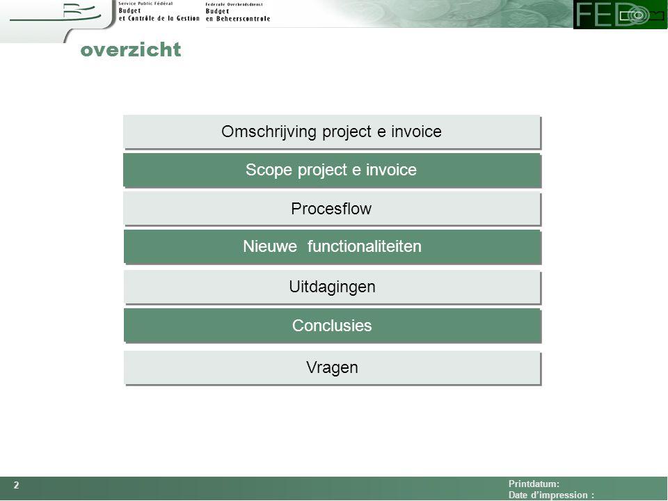 FEDCOM Printdatum: Date d'impression : overzicht Scope project e invoice Procesflow Omschrijving project e invoice Nieuwe functionaliteiten Uitdaginge